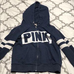 PINK Navy Blue Zip-Up Hoodie